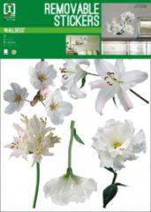 Muursticker White Flowers - Wit