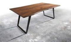 DeLife Massivholztisch Live-Edge Akazie Braun 200x100 Platte 3,5cm Gestell schräg Baumtisch