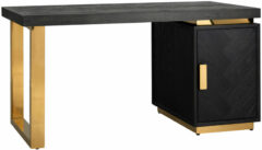 Richmond Interiors Richmond Bureau 'Blackbone' Eiken, kleur Zwart / Goud, 150 x 70cm