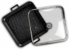 Food appeal Zwart Marmer grillpan met glazen deksel 34cm   antiaanbaklaag   zwart marmeren ontwerp   voor gasfornuis, inductiekookplaat, keramische kookplaat en elektrische kookplaat