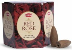 HEM Incense - The Essence of India HEM Backflow Wierook Kegels Rode Roos (12 kegels)