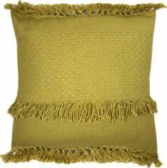 Gele Malagoon Mustard fringe cushion