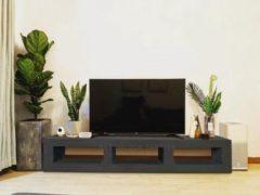 Zwarte Betonlook TV-Meubel open vakken | Black Steel | 140x40x40 cm (LxBxH) | Betonlook Fabriek | Beton ciré