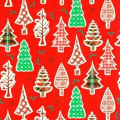 Original Giftwrap Cadeaupapier - Xmas on Glossy - Kerstboompjes op Rood - 30cm x 200m