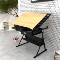 Bruine Compleet bureau met kantelbaar bureaublad + Stoel