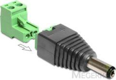 Groene DeLOCK 65422 DC 2.1 x 5.5 mm 2p Zwart, Groen kabeladapter/verloopstukje