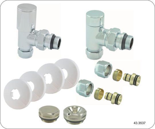 Afbeelding van Zilveren Praya Ra luxe radiator aansluitset haaks 43.3537