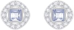 Swarovski Angelic Square Pierced Earrings, Blue, Rhodium plating Blue Rhodium-plated