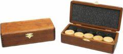Damstenen blank/zwart in bruin houten klap-kist HOT Games