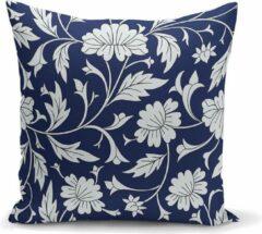 Zijou Decoratieve donkerblauw sierkussen grijs bladeren ontwerp binnen of buiten 45x45cm