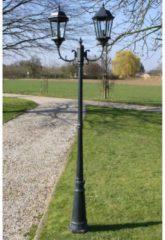 VidaXL Tuinlantaarn met 2 armen 230 cm aluminium donkergroen/zwart