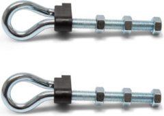 Zilveren 2x stuks veiligheidsschommelhaken / bevestigingshaken staal verzinkt - 180 x 11 mm - metrische draad - voor ophangen en bevestigen van touw / voorwerpen - schommelhaken / veiligheidshaak