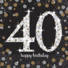 Partywinkel Servetten 40 Jaar Happy Birthday 33x33cm 16 stuks