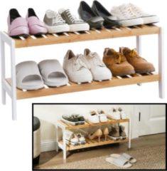 Witte Schoenenrek bamboe hout - Voor 6 paar schoenen - 70 cm breed - Schoenen Rek met 2 etages - Opbergrek met moderne uitstraling - Ook als open badkamerrek / organizer voor badkamer - Decopatent®