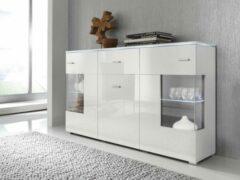 Perfecthomeshop Modern Wit Dressoir - Hooglans Wit & Mat Wit - Inclusief LED - 150x37x91 cm