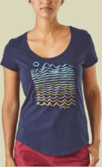 Patagonia Wavy Maybe Organic Scoop T-Shirt Women Damen T-Shirt Größe S classic navy