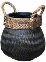 Zwarte Van der Leeden Basket Bamboo Black - (D)34 x (H)24 cm