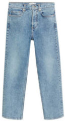 Blauwe Mango high waist straight fit jeans light blue denim