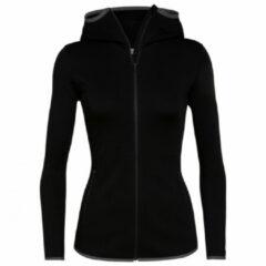 Icebreaker - Women's Elemental L/S Zip Hood - Fleecevest maat M, zwart