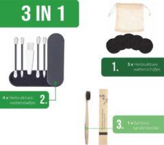 Grijze Merkloos / Sans marque 5 Duurzame Herbruikbare en wasbare wattenschijfjes zwart + 4 Duurzame Herbruikbare Wattenstaafjes + 1 Bamboe tandenborstel/Natural Bamboo tandenborstel