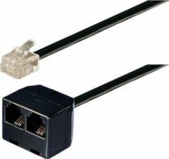 Transmedia RJ11 (m) - 2x RJ11 (v) telefoon splitter kabel / zwart - 15 meter