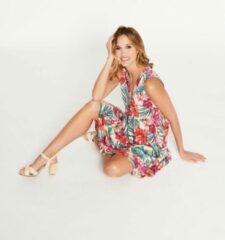 Huidskleurige LOLALIZA Halflange jurk met tropische print - Nude