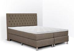 Boxspring Bonita compleet, merk Olympic Life®, 140 x 220 cm, bruin, 18-delig met gecapitonneerd knopen motief hoofdbord