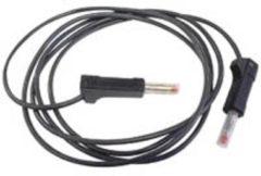 IEC1010 4mm INSTEEKBARE BANAANPLUG SILICONENKABEL 100cm ZWART