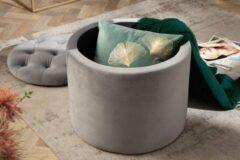 Interieurs online Poef met opbergruimte Zilver grijs fluwelen 50 cm