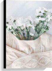 Roze KuijsFotoprint Canvas - Trui Bloempot - 40x60cm Foto op Canvas Schilderij (Wanddecoratie op Canvas)