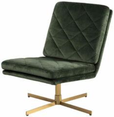 Lisomme Britt draaibare velvet fauteuil - Goud onderstel - Donkergroen