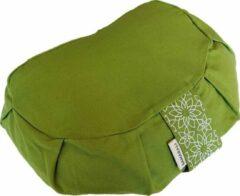 Samarali meditatiekussen crescent ( Groen) - ethisch geproduceerd van 100% biologisch katoen (GOTS gecertificeerd)  2lagen   34 x 20 x 17 cm  Verkrijgbaar in 6 natuurlijke kleuren