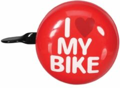 Universeel BICYCLE BELL - 'I LOVE MY BIKE' - Ø 8 cm - RED