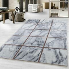 Impression Marmer Blok Design Laagpolig Vloerkleed Grijs Brons - 80x150 CM