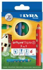 Lyra Omyacalor Kleurpotlood Lyra groove triple 3 in 1, 6 potloden
