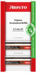 Zwarte Potloodstiftjes Aristo HI-Polymer 2B 0,5 mm blister 2x koker a 12 stuks AR-86578B
