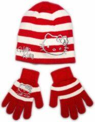 Hello Kitty muts en handschoenen winterset | 54cm | Rood