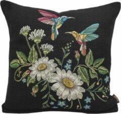 Emme Kussenhoes - Kolibrie - Bloemen - Zwarte achtergrond - Gobelin - Vogels