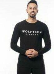 Wolftech gymwear t shirt lange mouwen heren zwart met groot logo sportkleding heren