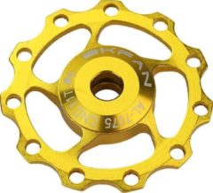 MTB Cycling CNC Aluminium derailleurwieltje met kogellager - T11 - 7075 Alu - 1 stuk - Goud kleurig