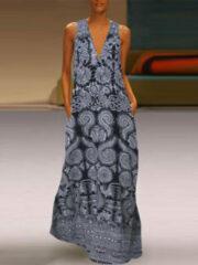 Blauwe ZANZEA Ethnic Print Sleeveless Dress