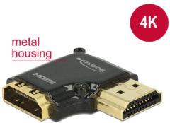 Zwarte Compacte HDMI adapter - 90° haaks naar links - versie 2.0 (4K 60Hz HDR)