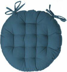 Atmosphera DELUXE stoelkussen rond donker blauw - ronde stoelkussens - D38 cm - Met 2 lintjes