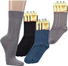 SOCKS4FUN Bamboe sokken - extra warme uitvoering / wintersokken - 2 paar - blauw - normale schachtlengte - maat 39/42