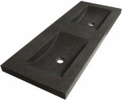 Sanituba Corestone dubbele wastafel basalt zonder kraangaten 120cm