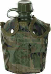 MFH US Army kunststof veldfles, 1 liter, hoes, Woodland-camouflage, BPA-vrij