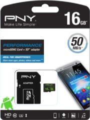 Zwarte PNY flashgeheugens MicroSD Performance 16GB