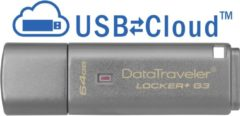 Grijze Kingston Technology DataTraveler Locker+ G3 64GB 64GB USB 3.0 (3.1 Gen 1) Capacity Zilver USB flash drive