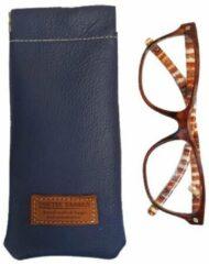 Toetie & Zo Handgemaakte Leren Brillenkoker Blauw - Donkerblauw - Knijpsluiting - Brillenetui - Brillentas - Leder - Snappouch