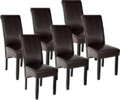 Tectake - 6 eetkamerstoelen met ergonomische zitvorm bruin 403497